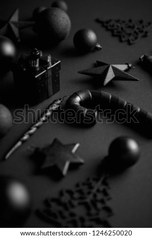 Christmas Minimalistic Simple Composition Mat Black Stock