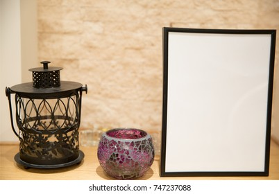 christmas mock up photo frame violet candlestick