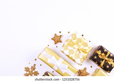 Christmas mood concept. Layout composition with traditional festive attributes, presents and other decorations. Winter holidays season. Background, copy space, close up, top view, flat lay.