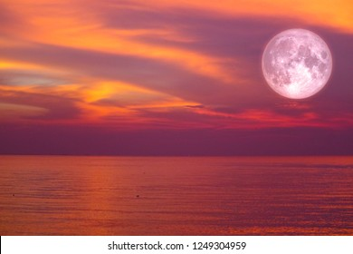 christmas moon ,long night moon back cloud over sea, Elements of this image furnished by NASA