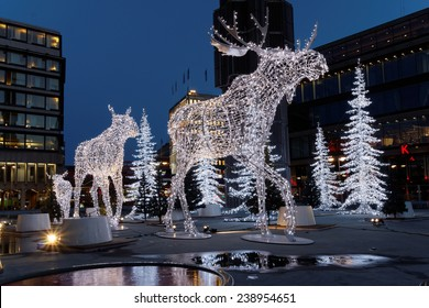 Christmas moose decoration made of light in central Stockholm