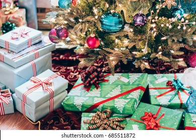 Christmas morning at home with presents