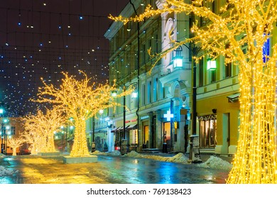 Christmas in Moscow. Festively decorated Kamergersky lane in Moscow