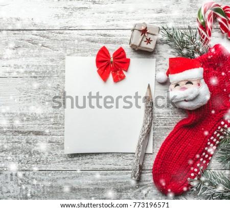 christmas motivational theme notepad vintage pencil stock photo