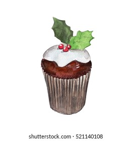 The christmas muffin isolated on white background, watercolor illustration in hand-drawn style.