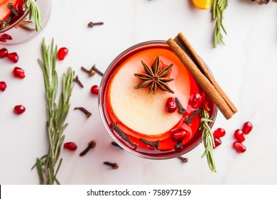 Christmas mulled wine on white background. Top view