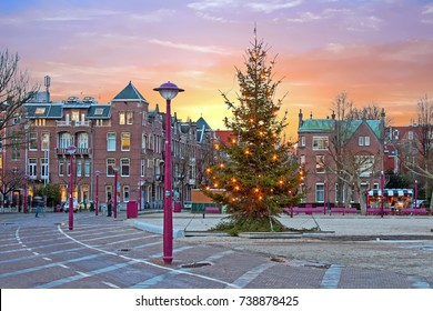 Christmas at the Museumplein in Amsterdam Netherlands at twilight