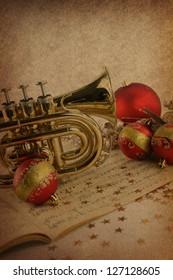 Christmas music on vintage background
