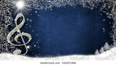 Christmas musical card.Treble clef  and fir trees silver glitter texture on blue background with copy space.Panoramic image.