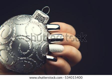 Christmas Nail Art Manicure Idea Winter Stock Photo Edit Now