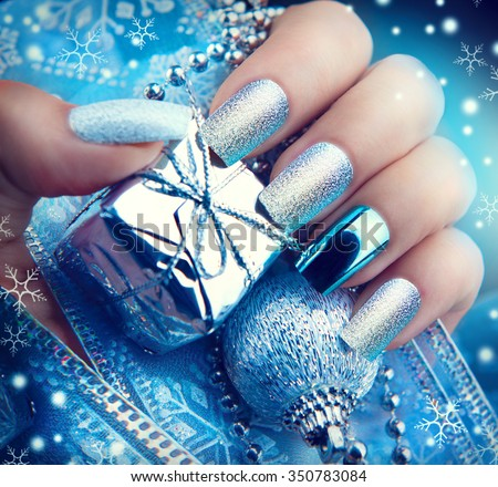 Christmas Nail Art Manicure Winter Holiday Stock Photo Edit Now