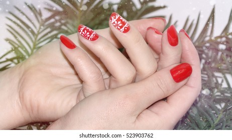 Christmas Nail art manicure.Beautiful Nail art manicure.Holiday style Manicure.
