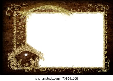 Christmas Nativity greetings cards, Star of Bethlehem, Nativity Scene and golden frame , empty white background  for message or photo.