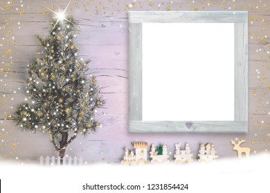Christmas Nativity photo frame card. Christmas tree and vintage style wooden train and reindeer with empty photo frame to put photo or message
