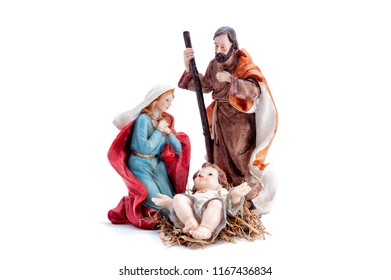Christmas nativity scene. Baby Jesus in the manger with Mary and Joseph isolated on white background.