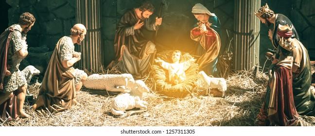 A Christmas nativity scene, with baby Jesus