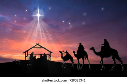 Christmas nativity scene of baby Jesus in the manger with Joseph, Mary, shepherds and three wise men