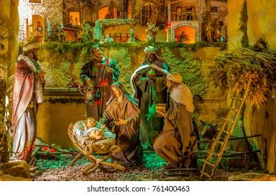 Christmas Nativity Scene Of Baby Jesus In The Manger With Saint Joseph Blessed Virgin