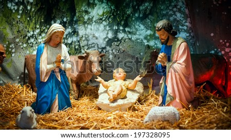 Christmas Nativity Scene Baby Jesus Mary Stock Photo (Edit Now ...