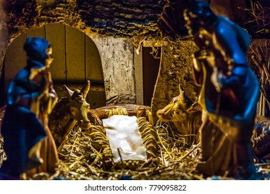 Christmas Nativity Scene before the birth of Jesus Christ, with With the empty manger without The Holy Child but waiting for his arrival according to the tradition