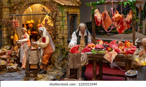 Christmas nativity scene, detail of a Neapolitan Presepe representing a butcher's shop. Naples Italy