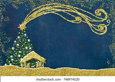 Christmas Nativity Scene greetings cards, abstract freehand drawing of Nativity scene and tree with golden glitter, grunge background with blank.
