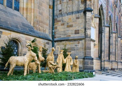 Christmas nativity scene made of straw in Prague near the St. Vitus Cathedral on Prague castle, Czech Republic, Europe