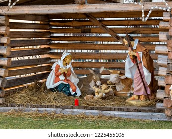 Christmas nativity scene.life-size statues of a nativity scene in a square in a small mountain village in Italy.