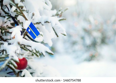 Christmas Nauru. Xmas tree covered with snow, decorations and a flag of Nauru. Snowy forest background in winter. Christmas greeting card.