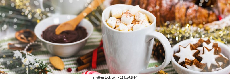 Christmas and New Year Background with Hot Cocoa with Marshmallows. Selective focus. Panoramic image.