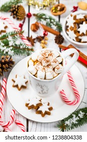 Christmas and New Year Background with Hot Cocoa with Marshmallows. Selective focus.