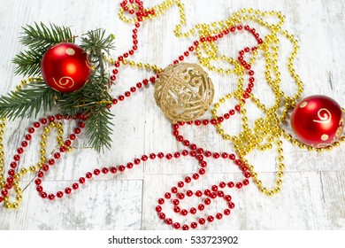 Christmas, New Year, Christmas Background, Christmas ornaments, bumps,top view,