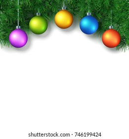 Christmas or New Year Background with place for text. White template with pine brunches and christmas balls