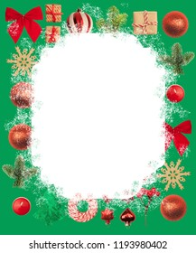 Christmas or New Year background: red and gold glass balls, fir tree branches, decoration and gifts on white, green background. Place for your congratulations.
