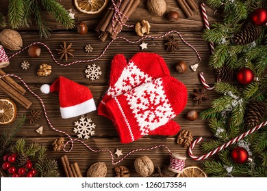 Christmas New Year background. still life with Christmas tree decor and gifts. Winter holiday composition. Top view,  Flat lay