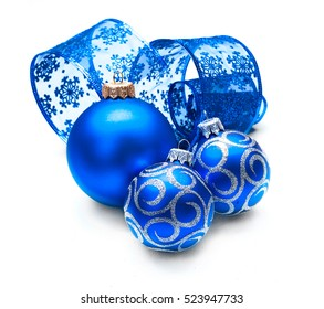 Christmas and New Year Blue color Decoration isolated on white background. Art design with holiday baubles. Beautiful Christmas Decor closeup, Ball and ribbon. Space for your text