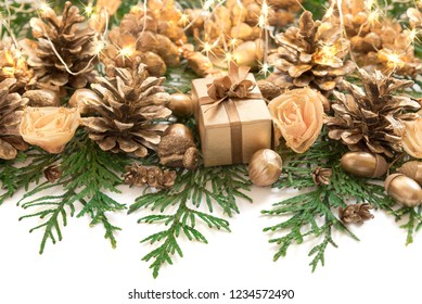 christmas and new year border design on the white background with thuja cones and decorations