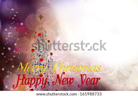 christmas and new year card with snow christmas tree on white backgroundthis card blank