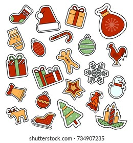 Christmas and New Year celebration attributes icons set.