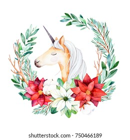 Christmas and New Year collection.Bright wreath with leaves,branches,fir-tree,cotton flowers,berries,holly,poinsettia and cute unicorn.Handpainted illustration,perfect for Christmas invitations.