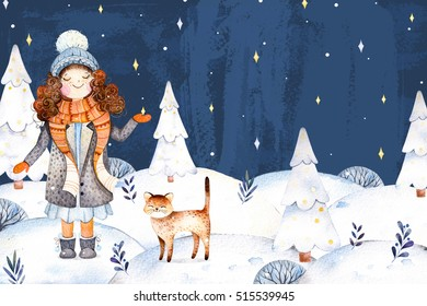 Christmas and New Year collection.Watercolor handpainted illustration with a cute girl in a wool coat,scarf,hat and her little friend-cute kitten.Winter landscape with christmas tree.Dreams come true