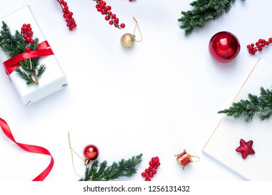 Christmas New Year concept frame on the white background. Top view winter holiday card. Copy Space
