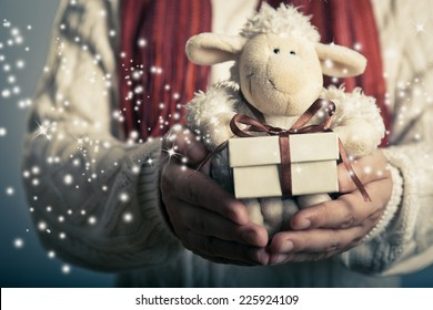 Christmas and New Year concept. Hands holdimg small  magic gift box and soft toy.