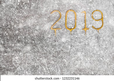 christmas and new year concept have year 2019 number border design copy space bottom left