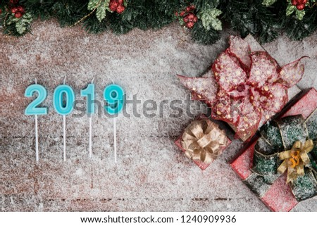 christmas and new year concept have year 2019 blue color border design copy space bottom
