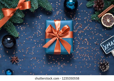 Christmas, New Year dark blue flat lay. Winter holiday concept composition. Top view. Copy space