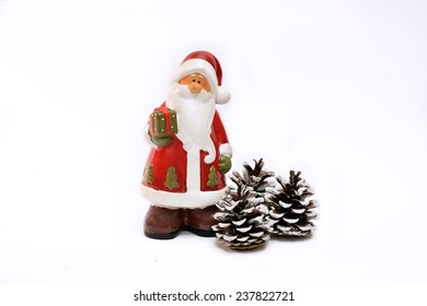 Christmas New Year Decor Santa Claus and Cones On White