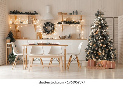 Christmas and New Year decorate the interior of the kitchen