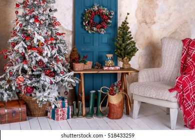 Christmas and New Year decorated interior ,cozy living room