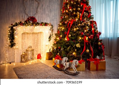 Christmas and New Year decorated interior room with presents and New year tree